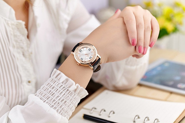 Casual Rhinestone Leather Dress Watch