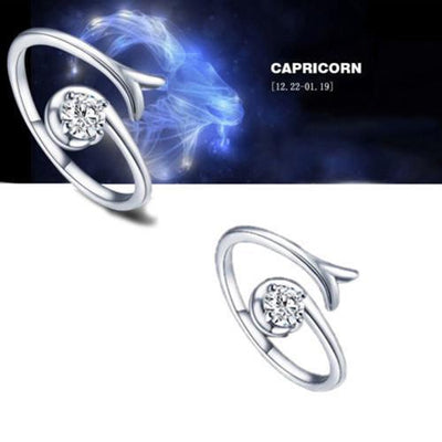 Adjustable Silver Plated Zodiac Ring
