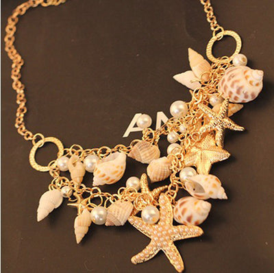 Sealife & Pearls Chain Necklace