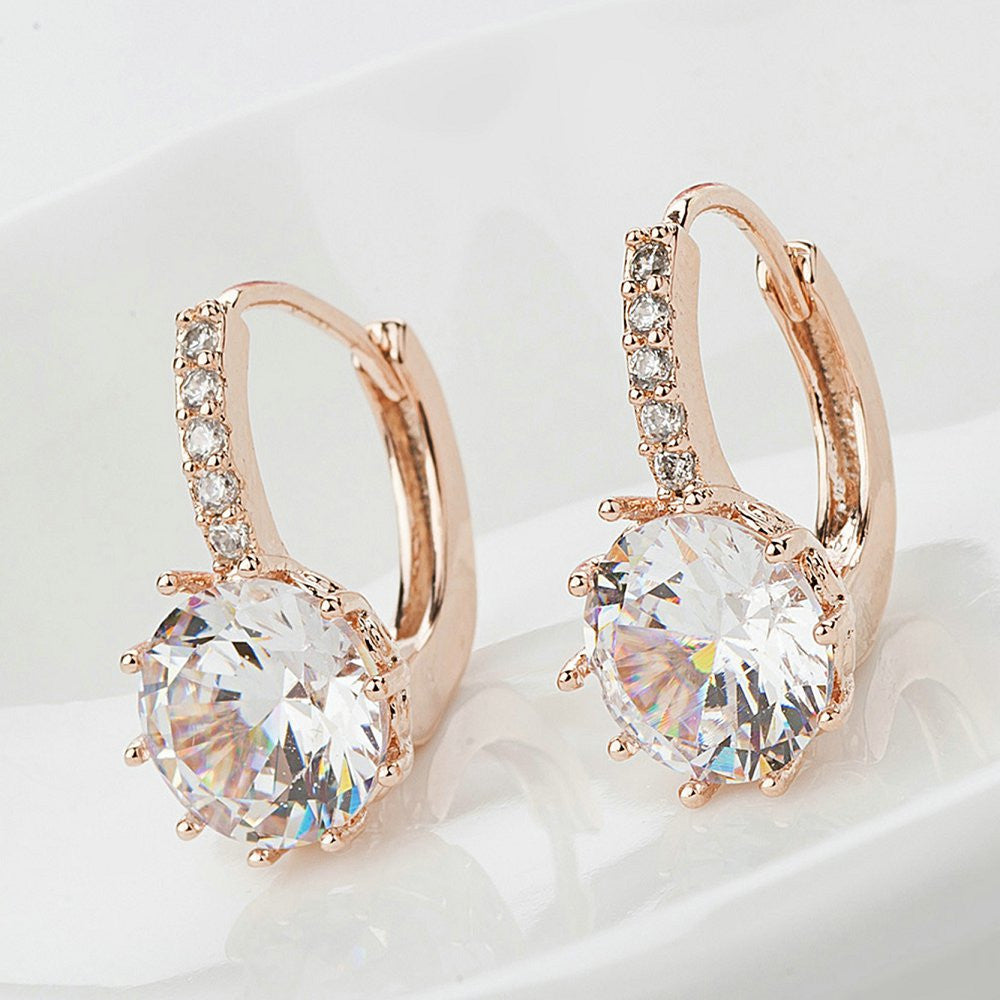 Rose Gold Colored Crystal Drop Earrings