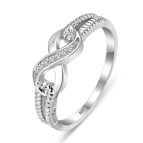 Silver Crystal Infinity Ring