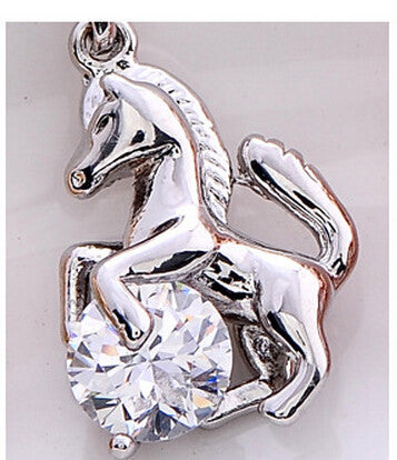 Horse With Crystal Pendant Necklace