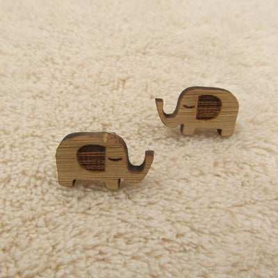 Cat And Elephant Engraved Wood Stud Earrings