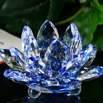 GOOD FORTUNE FENG SHUI GLASS CRYSTAL LOTUS FLOWER