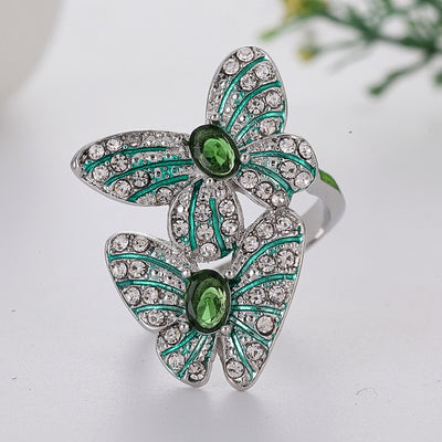 Butterfly Green Stone Silver Ring