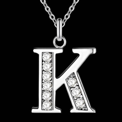 Silver Plated Letter Pendant Necklace