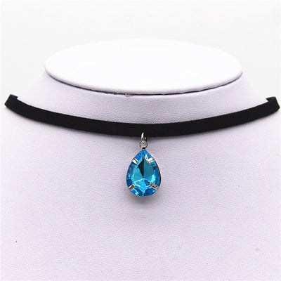 Black Velvet Ribbon Water Drop Pendant Necklace