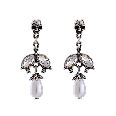 Skull Dangle Pearl Earrings