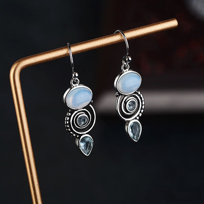 Eye Catching Blue Moonstone Earrings