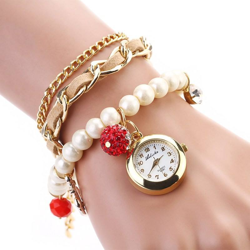 Casual Pearl Anchor Bracelet Watches