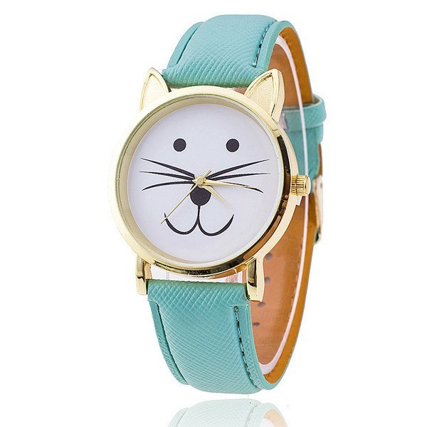 Charming Leather Strap Golden Cat Watch