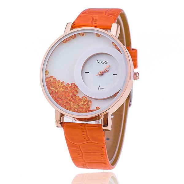 Women's Watch - Leather Strap Rhinestone Watch