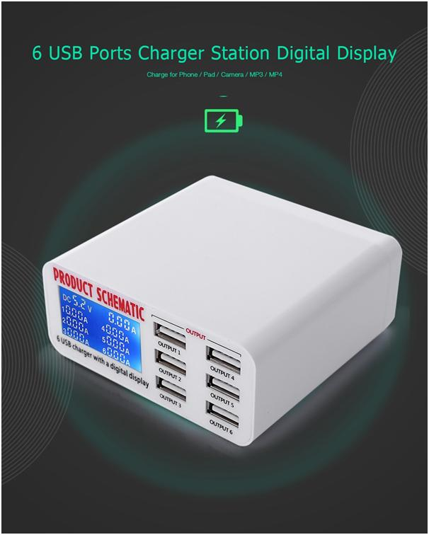 USB Charger with 6 ports & Digital Display
