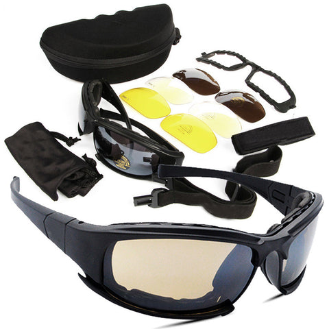 X7 Tactical Eyewear Military Goggle w/4 Lens