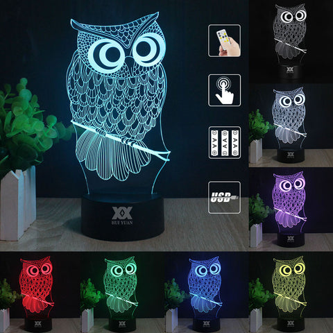 Owl Color Changeable 3D Lamp