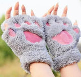 WINTER FLUFFY PLUSH CAT PAW GLOVES FINGERLESS