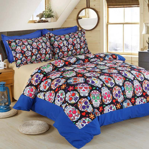3D Skull Bedding Set - 4 Pieces