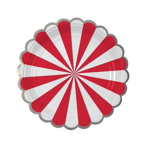 Red Fan Stripe Plates (small)