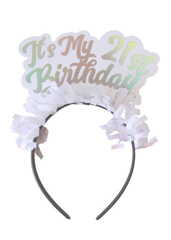It's My 21st Birthday Headband (silver)