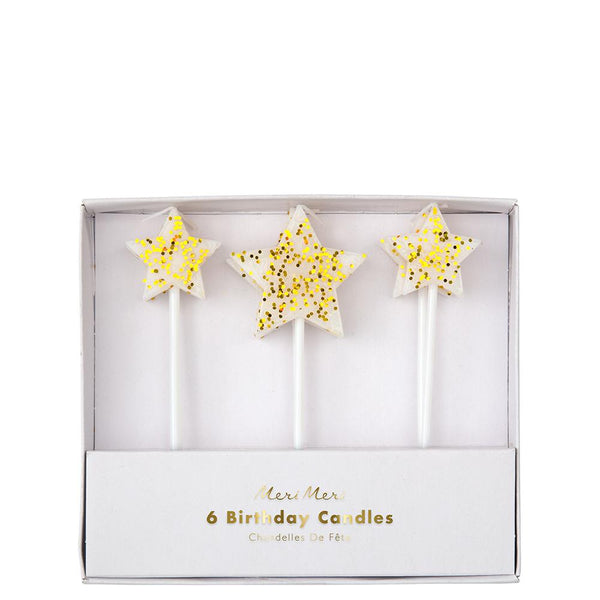 Gold Glitter Star Candles