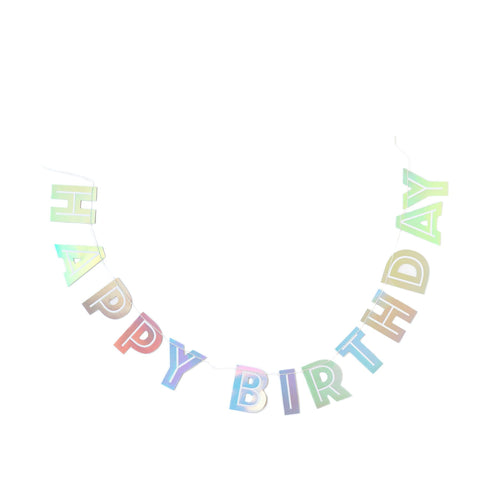 Holographic Happy Birthday Banner