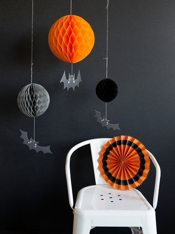 Halloween Honeycomb and Bat Decor