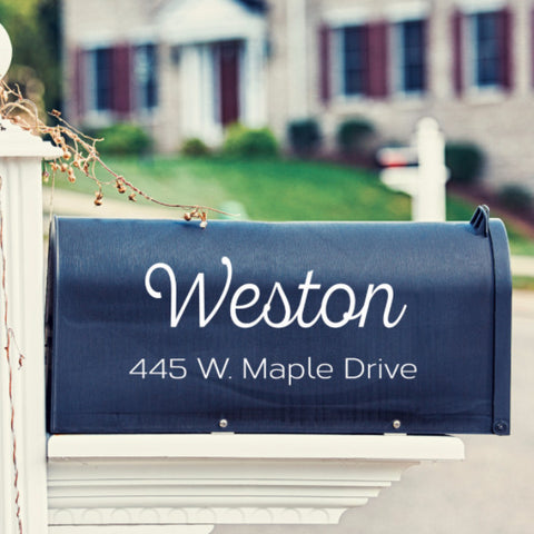 Cursive Mailbox Decal - Create & Ship