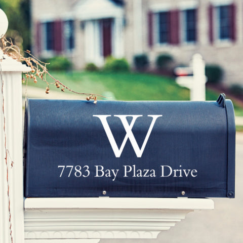 Plain Monogram Mailbox Decal - Create & Ship