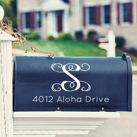 Vine Monogram Mailbox Decal - Create & Ship