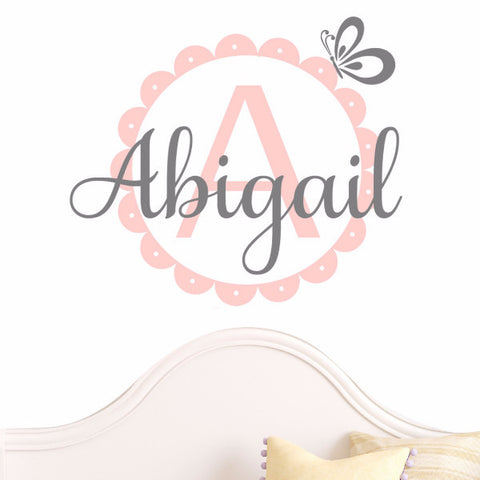 Butterfly Scalloped Monogram Decal - Create & Ship