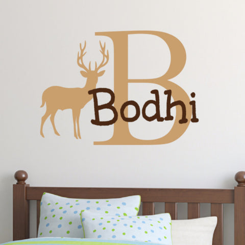 Boys Deer Monogram Wall Decal - Create & Ship