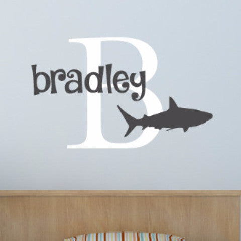 Shark Monogram Name Wall Decal - Create & Ship