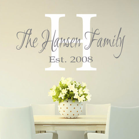 Gorgeous Family Monogram Vinyl Wall Decal - Create & Ship