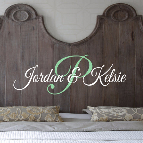 Couples Script Monogram Wall Decal - Create & Ship