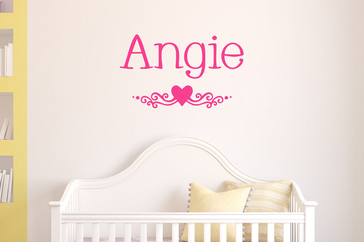 Girls Heart Accent Name Wall Decal - Create & Ship
