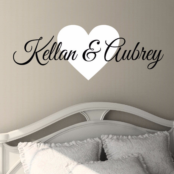 Couples Heart Name Wall Decal   Create U0026 Ship ...