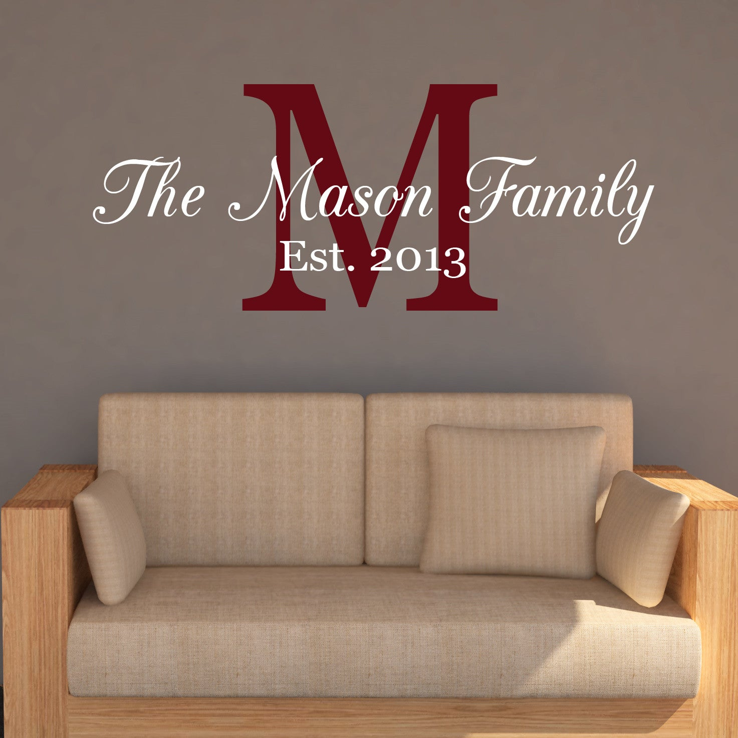 Family name monogram wall decal create ship family name monogram wall decal create ship amipublicfo Gallery