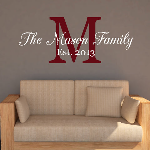 Family Name Monogram Wall Decal - Create & Ship