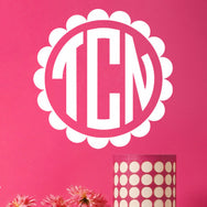 Scalloped Monogram Wall Decal - Create & Ship