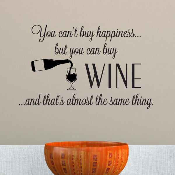 Wine Happiness Wall Decal - Create & Ship