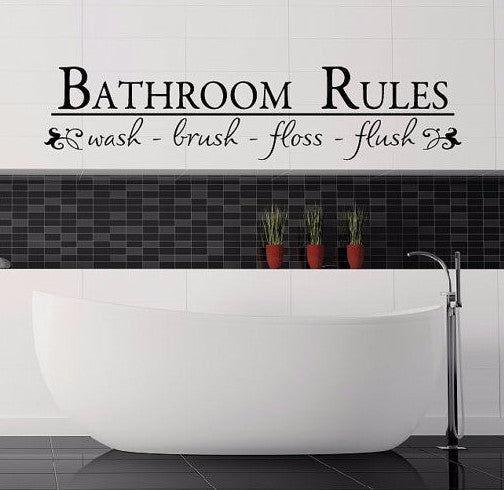 Bathroom Rules Wall Decal - Create & Ship