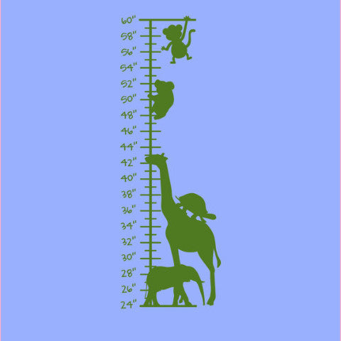 Safari Stacked Animals Growth Chart Wall Decal - Create & Ship