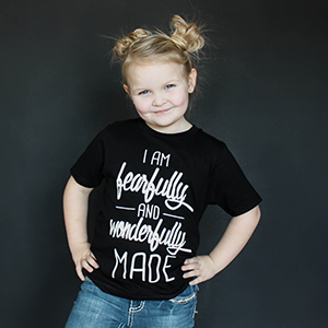 """Fearfully and Wonderfully Made"" Unisex Fit Tee in Black - The Talking Shirt"