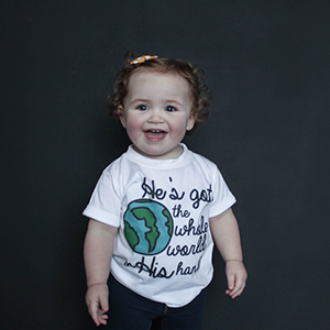 """He's Got The Whole World In His Hands"" Unisex Fit Tee - The Talking Shirt"