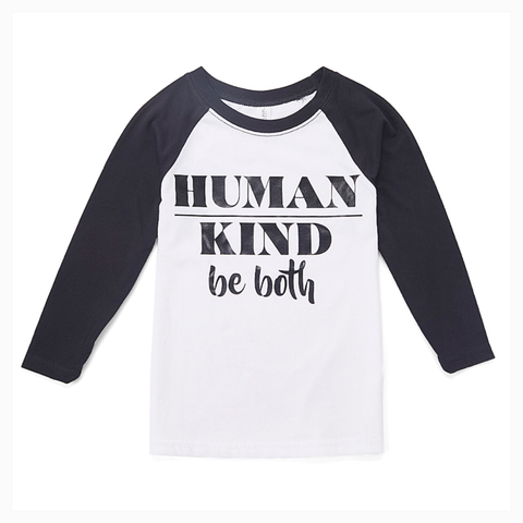 """Human Kind, Be Both"" Youth Unisex Fit Raglan"