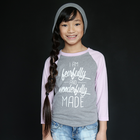 "Gray and Lavender ""Fearfully and Wonderfully Made"" Raglan - The Talking Shirt"