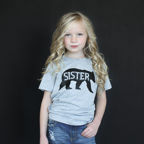 "Heather Gray ""Sister Bear"" Unisex Fit Tee - The Talking Shirt"