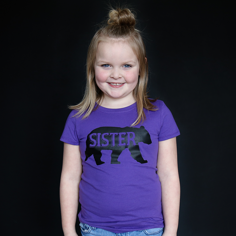 "Purple ""Sister"" Bear Fitted Tee - The Talking Shirt"
