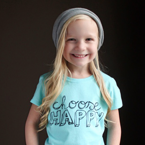 """Choose Happy"" Girl's Fitted Tee - The Talking Shirt"