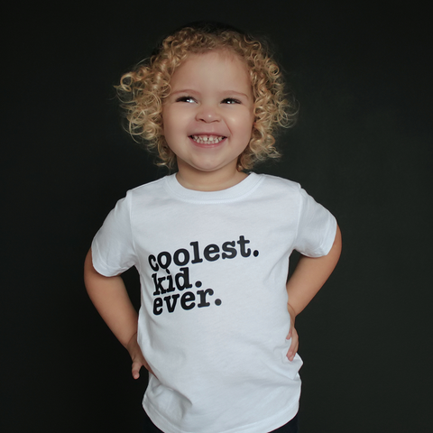 "White ""Coolest Kid Ever"" Unisex Fit Tee - The Talking Shirt"